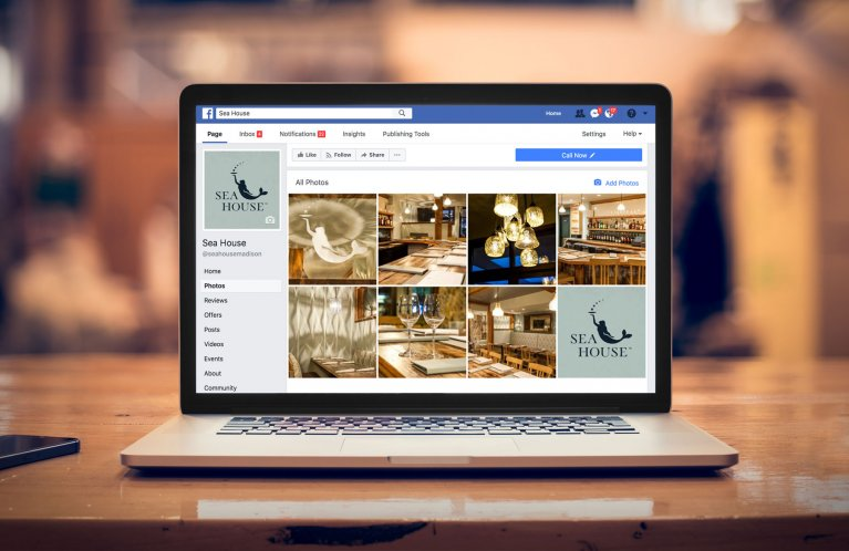 Facebook social media profile page for Sea House restaurant